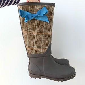 J Crew Wool Plaid Rubber Rain Boot